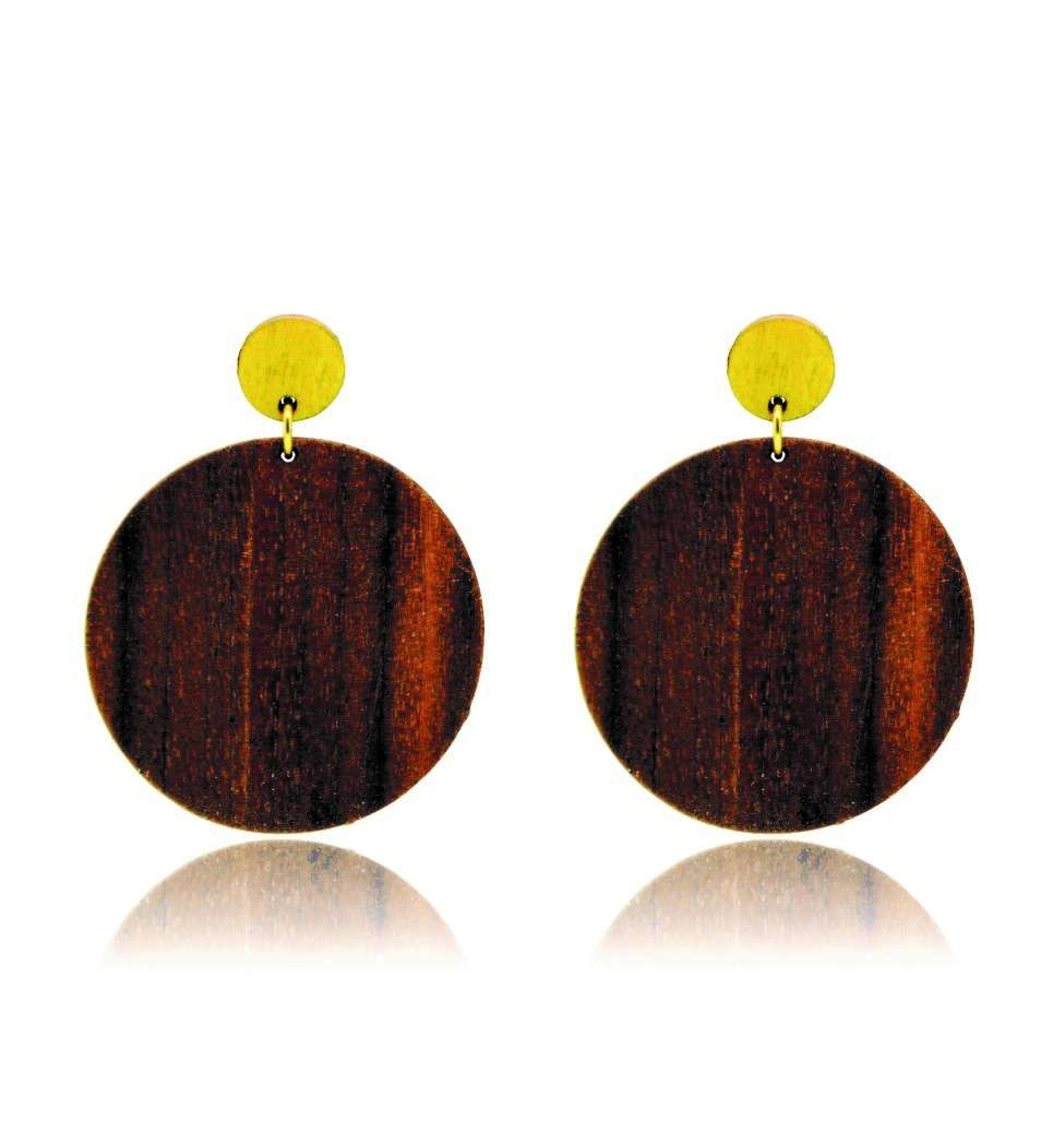 Σκουλαρίκια Cercle in Walnut and Yellow Tulip