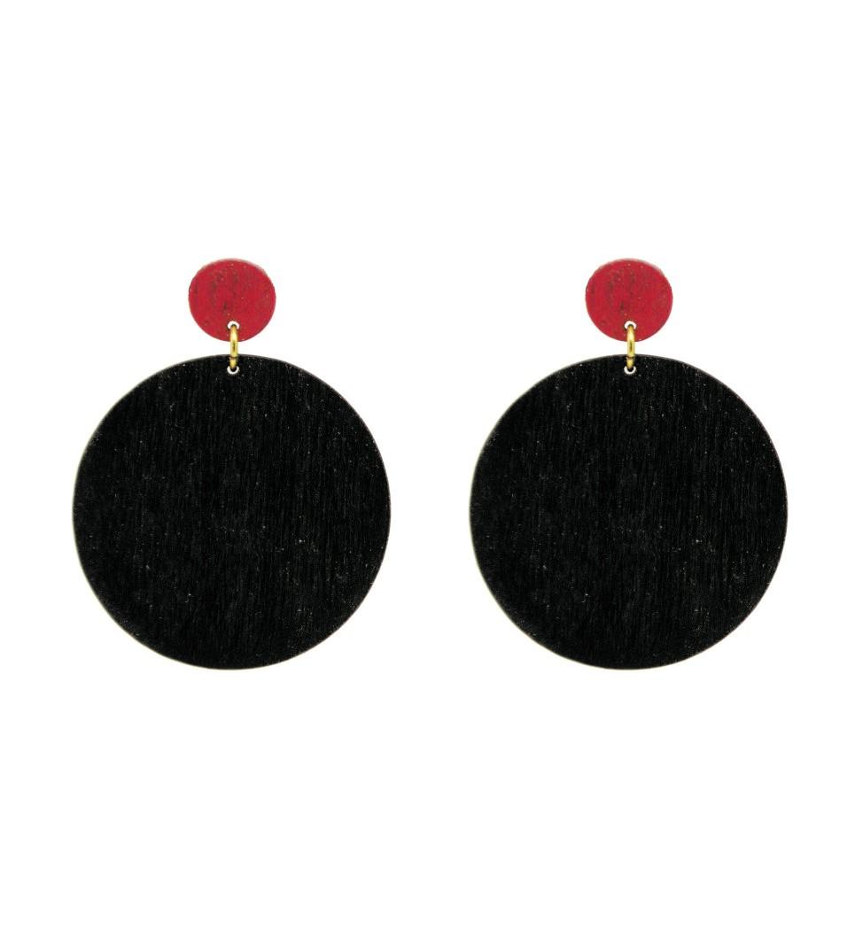 Σκουλαρίκια Cercle in Black and Red Tulip