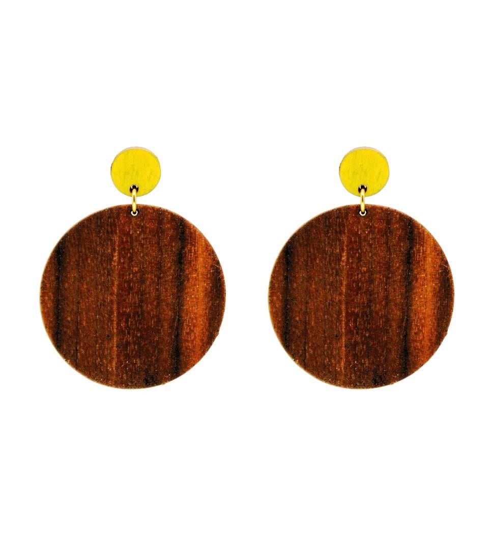 Σκουλαρίκια Cercle in Walnut and Yellow Tulip