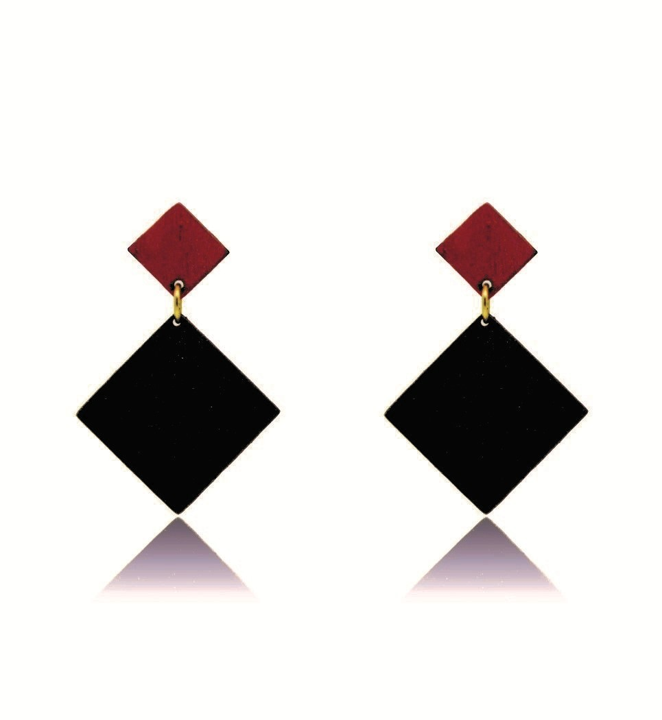Σκουλαρίκια D Rho in Black and Red Tulip