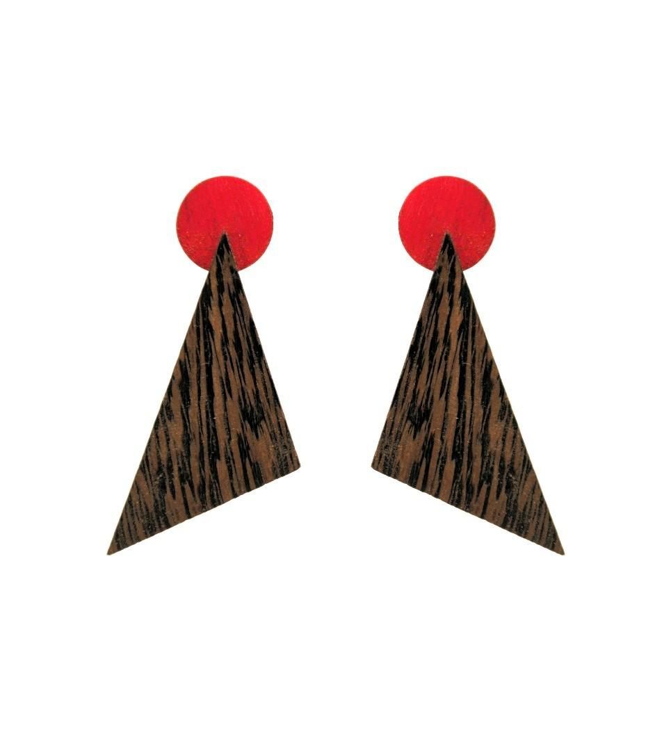 Σκουλαρίκια Troundy in Wenge and Red Tulip