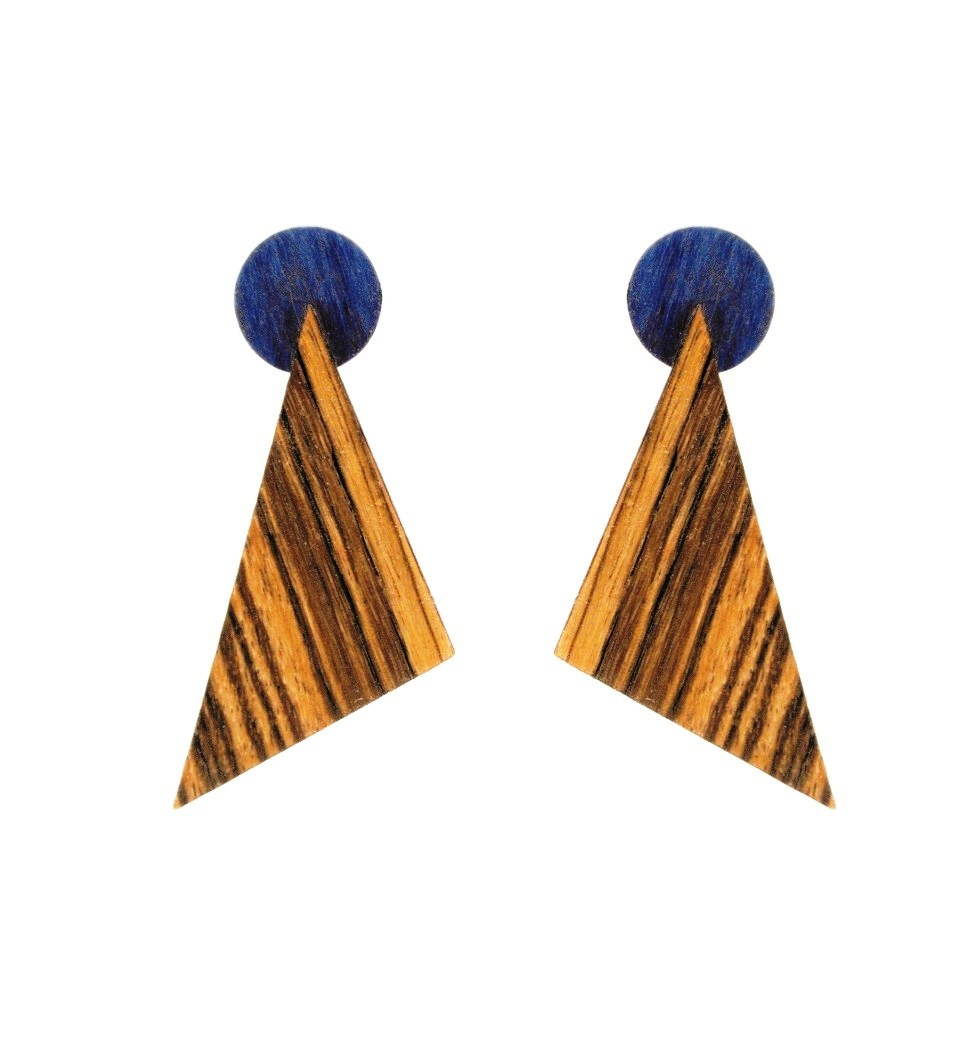 Σκουλαρίκια Troundy in Zebrano and Blue Tulip