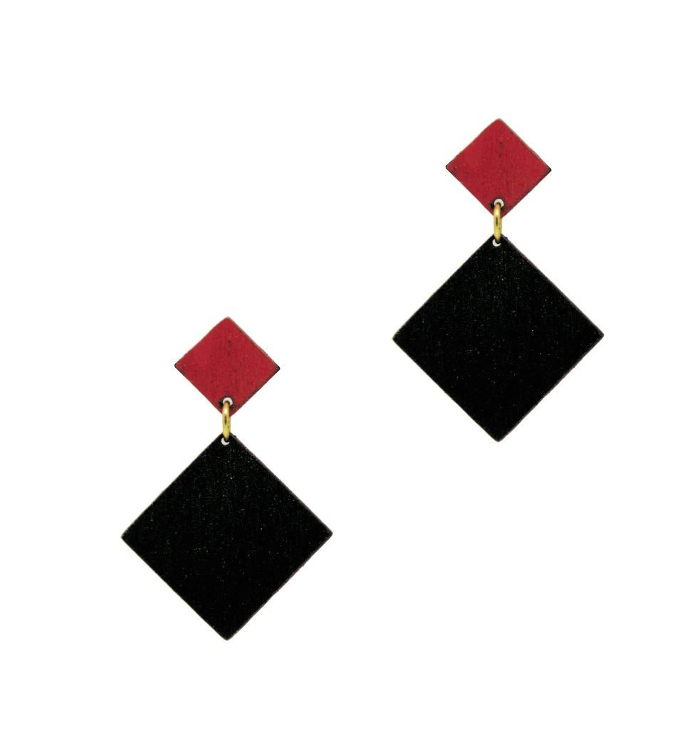 Σκουλαρίκια D Rho in Black and Red Tulip