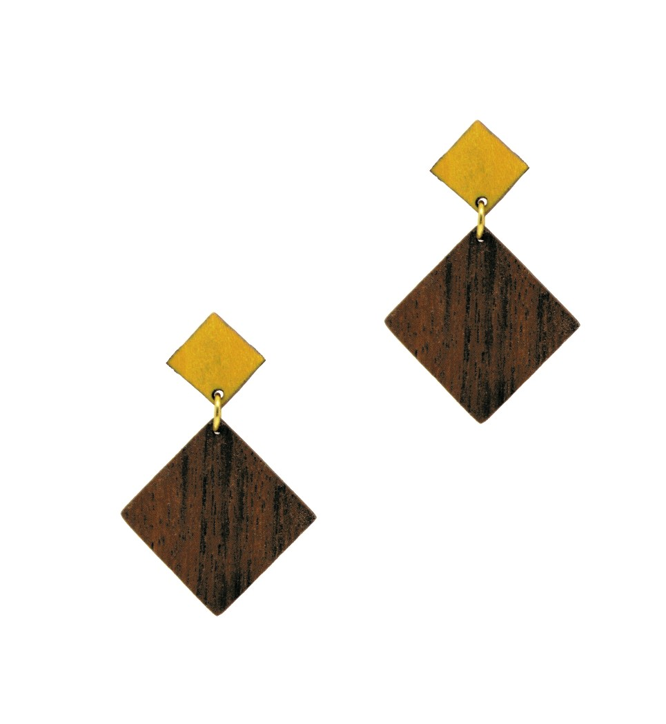 Σκουλαρίκια D Rho in Walnut and Yellow Tulip