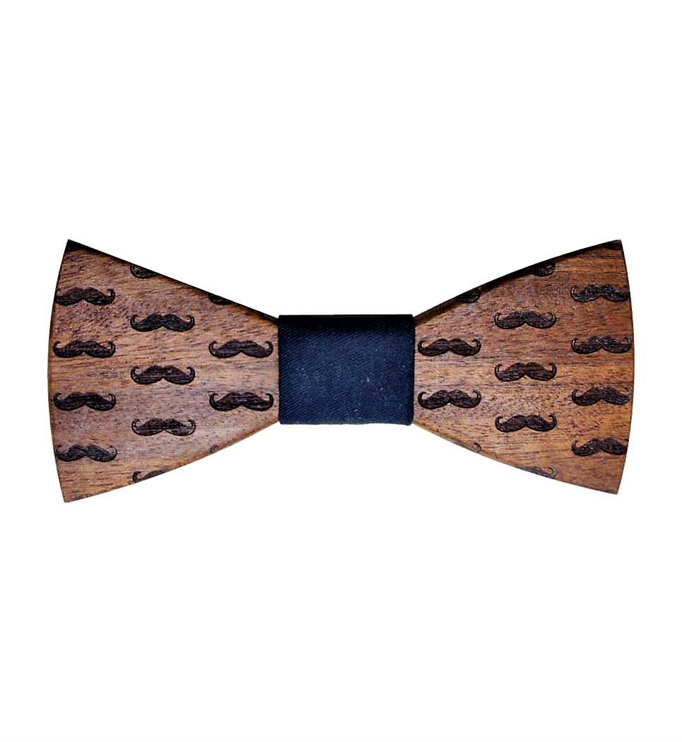 Ξύλινο Παπιγιόν Moustache Sapele