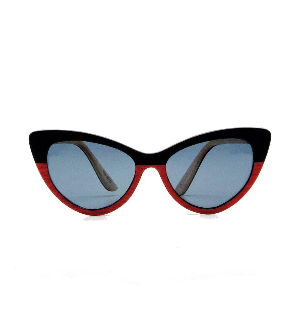 Ξύλινα Γυαλιά Rita in Black and Red Tulip